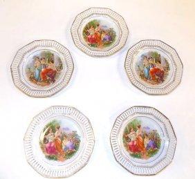 Set Of 5 Classical Scene Bavarian Plates
