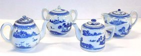 Chinese Canton Blue & White Porcelain Tea Service