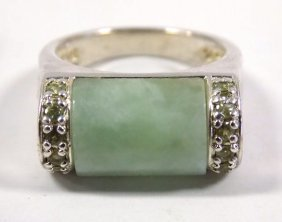Chinese Sterling Silver Jade Ring