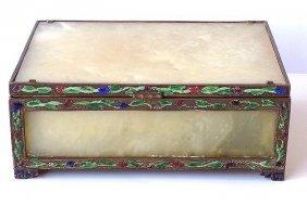 Chinese Qing Ching Nephrite Jade Champleve Box