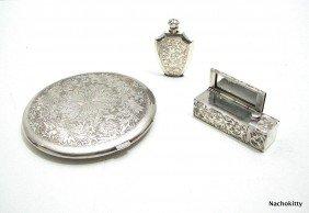 Sterling Compact, Lipstick & Perfume, Matching Set