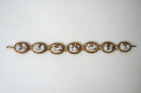 Vintage Italian Mythical Cameo & Gold Bracelet