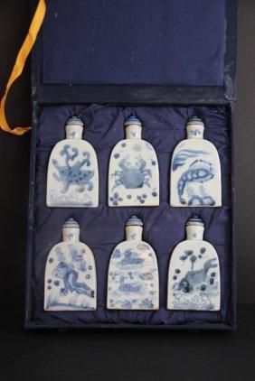 Chine Srie De 6 Flacons En Porcelaine Blanc Et Bleu