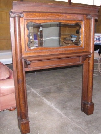 38 Antique Wood Fireplace Mantel With Mirror Lot 38
