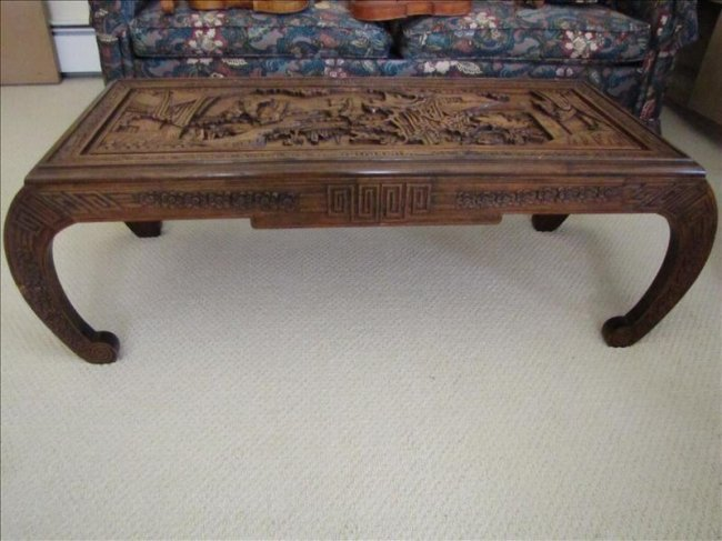 100 Hand Carved Oriental Coffee Table Lot 100