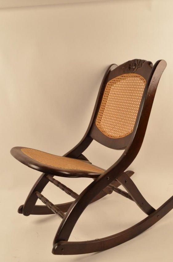 Folding Cane Seat Amp Back Rocking Chair Lot 70c