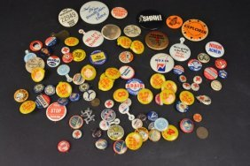 Political & Hunting License Pin Backs, Buttons