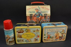 (3) 1950's Roy Rogers Western Lunch Boxes