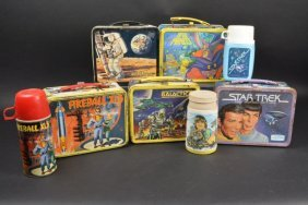 (5) Vintage Space Theme Metal Lunch Boxes