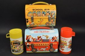 (2) Vintage Disney Dome Lunch Boxes W/ Thermoses