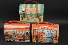 (4) Vintage Dome Top Children's Lunch Boxes