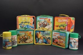 (6) Vintage Boys Vehicle Theme Lunch Boxes