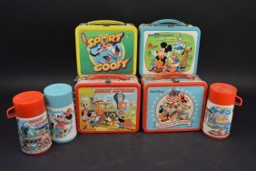 (4) Walt Disney Vintage Lunch Boxes (3) Thermoses