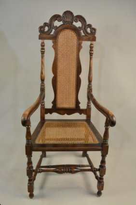 Oversized Antique Carved Cane Side Chair