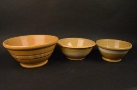 (3) Yellow Ware Stoneware Mixing Bowls