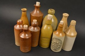 (10) Stoneware Pottery Beer Bottles
