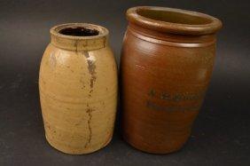 Donaghho Parkersurg W.v. Crock & (1) Stoneware Jar