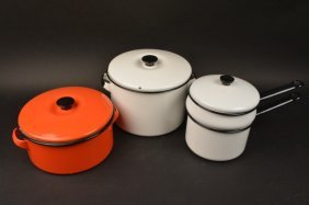 (7) Pieces Of Enamelware Cookware