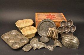 (9) Tin Molds, (1) Tin Plate & (2) Stoneware Molds