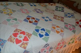 Handstitched Quilt With Heart Pattern