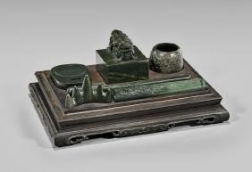 Spinach Jade Scholar's Desk Set