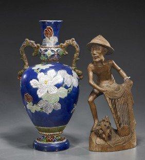 Satsuma-Type Vase & Wood Fisherman