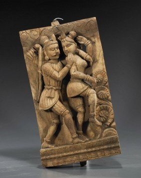 Indian Carved Wood Deity Panel