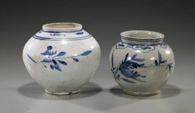 Two Antique Korean Blue & White Jars