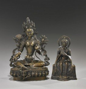 Two Various Buddhist Bronze Deities