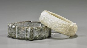 Two Carved Jade/Hardstone Bracelets