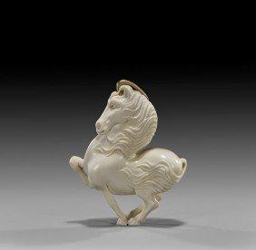 CONTEMPORARY IVORY NETSUKE: Unicorn