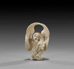 CONTEMPORARY IVORY NETSUKE: Winged Horse