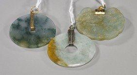 Three Chinese Carved Jadeite Pendants