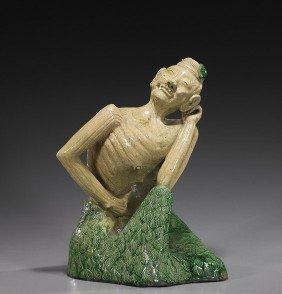 Chinese Glazed Ceramic Buddhist Ascetic