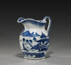 Antique Blue & White Export Porcelain Pitcher