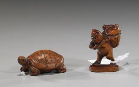 Two Carved Wood Netsuke: Animals