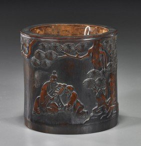 Old Chinese Carved Bamboo Brushpot