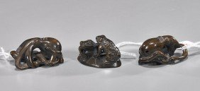 Group Of Three Carved Wood Netsuke