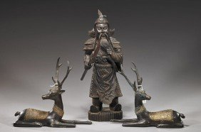 Carved Wood Warrior & Pair Bronze Deer