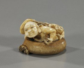 Carved Ivory Netsuke: Figure In A Tub