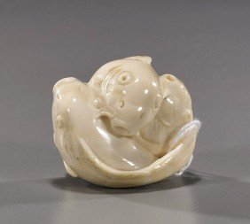 Carved Ivory Netsuke: Three Carp