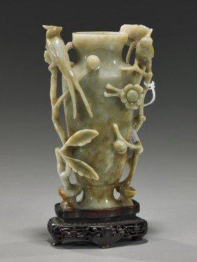 Chinese Carved Celadon Jade Urn