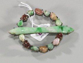 Unusual Old Chinese Jadeite Brooch