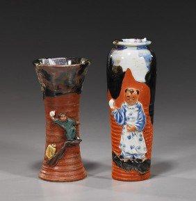 Two Antique Japanese Sumidigawa Vases