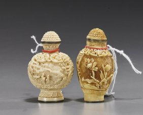 Pair Chinese Scrimmed Ivory Snuff Bottles