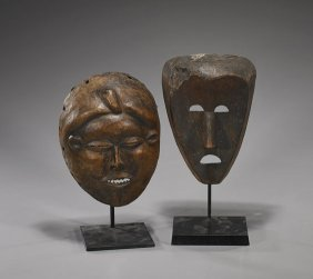 Two Old African Carved Wood Masks