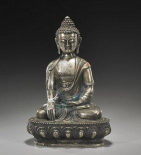 SinoTibetan/Nepalese White Bronze Buddha