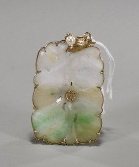 Old Chinese Carved Jadeite Pendant In Gold