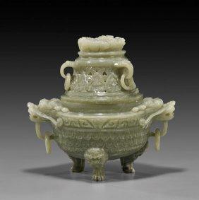 Chinese Carved Celadon Jade Koro