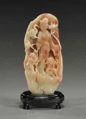 Chinese Carved Sealstone Standing Guanyin